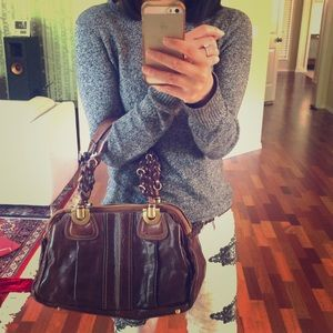 Chloe Brown Distressed Leather Heloise Bag